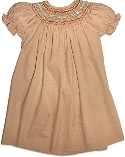 Rosalina Girl's Beige Tiny Gingham English Hand Smocked Fall Bishop Dress 2T