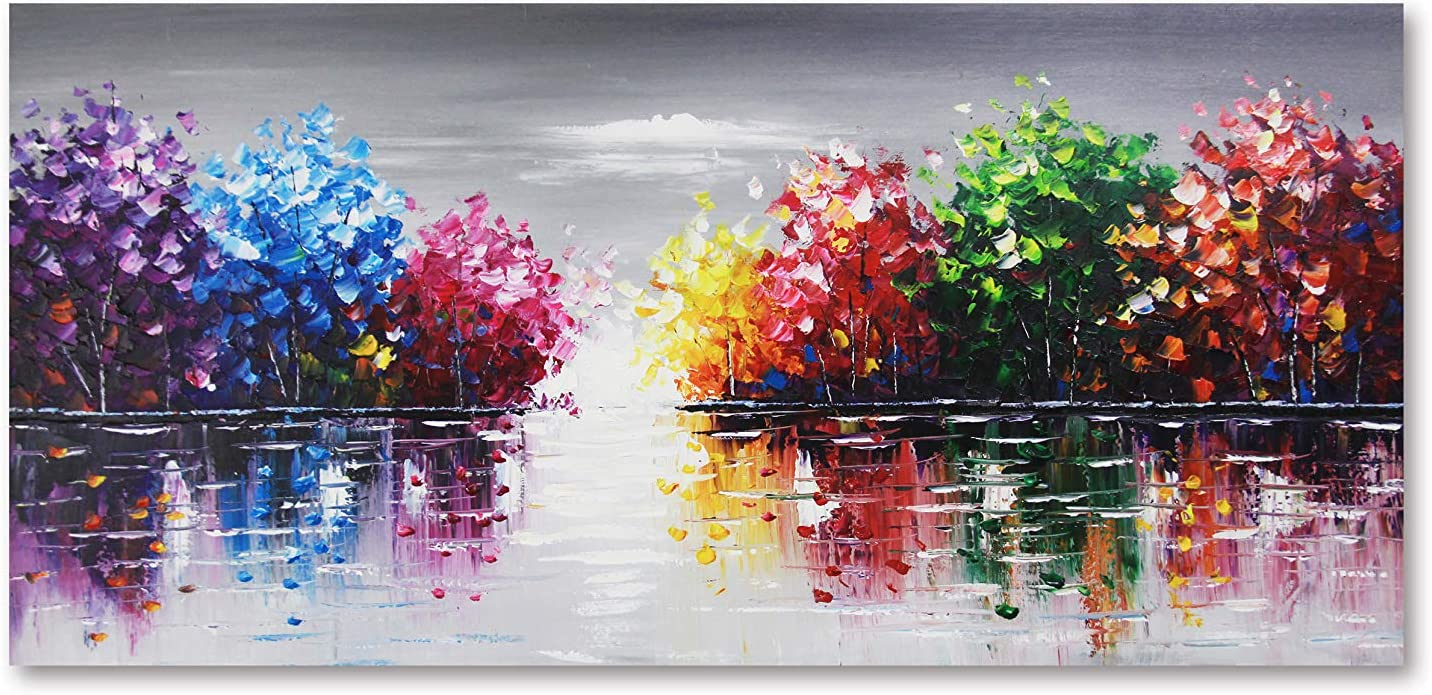Gormod Art-100% Hand-Painted 2021 model Oil Reservation Painting Color Abstract Lake Li