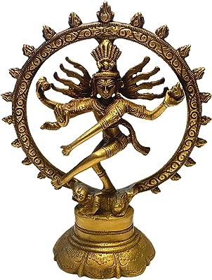 Shiva Brass Figure 20 cm   Indian God Dancing Shiva Nataraja in Wheel   Hinduism Religious Statue Lord of Dance Natraj Decorative Figure   Feng Shui Esoteric Gifts