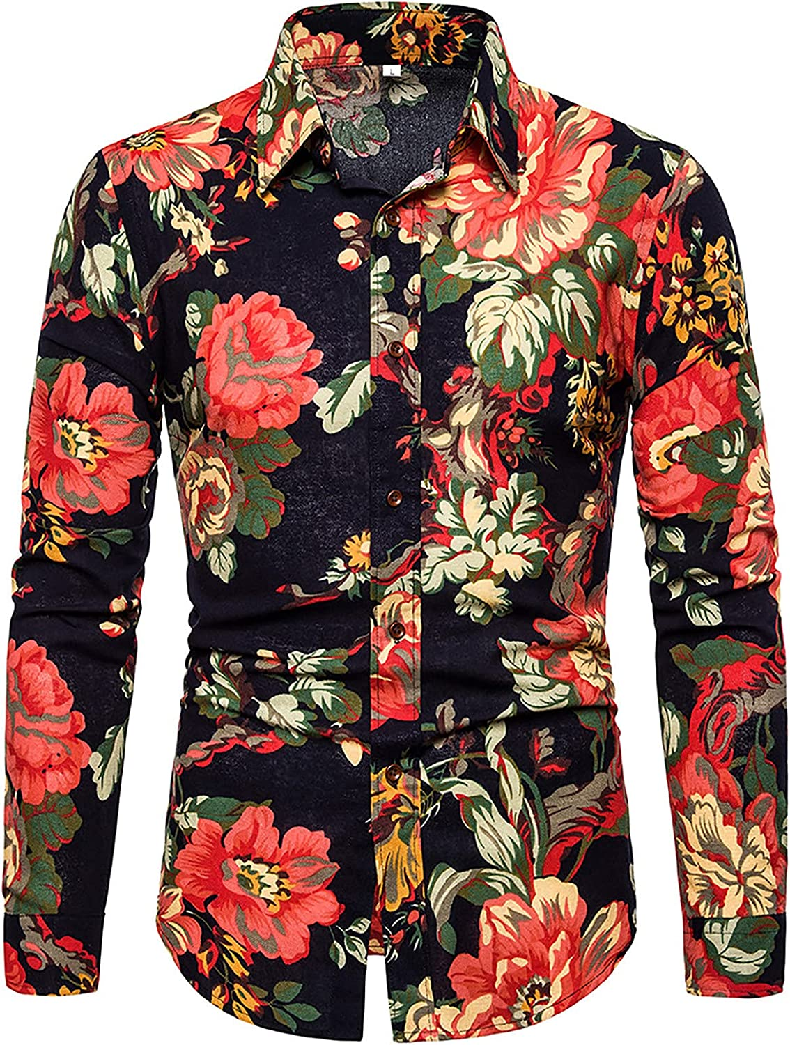Mens Dress Shirt Floral Rose Printed Long Sleeve Vintage Dress Shirts Prom Wedding Party Casual Holiday