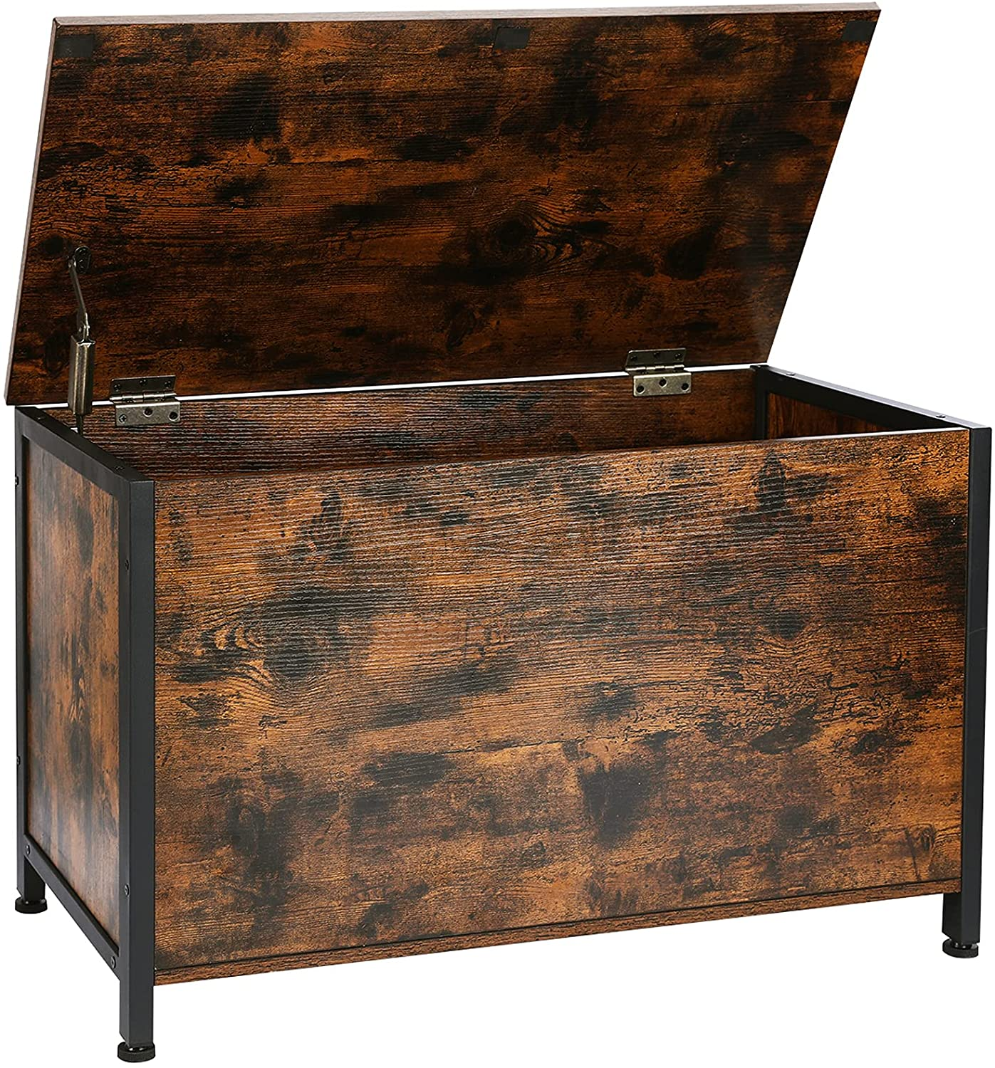 AMHANCIBLE Industrial Storage Chest for Living Room, Retro Toy Box Organizer with Safety Hinge, Sturdy Entryway Storage Bench, Wood Look Accent Furniture, Easy Assembly, Rustic Brown