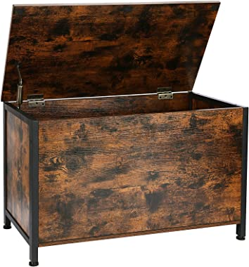 AMHANCIBLE Industrial Storage Chest for Living Room, Retro Toy Box Organizer with Safety Hinge, Sturdy Entryway Storage Bench