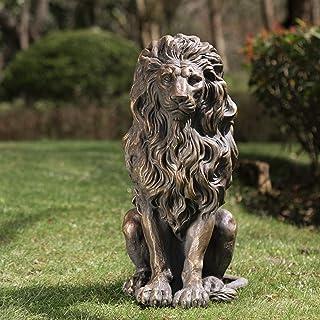 "Glitzhome GH20387 Guardian Lion Garden Statue Outdoor Sculpture Decorative, 20.75"" H"