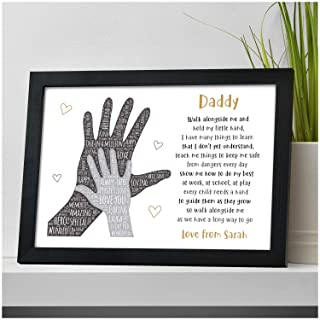 PERSONALISED Gifts for Dad, Daddy, Grandad from Son or Daughter - Custom Birthday, Fathers Day, Christmas, Xmas Gifts for Him, Men - Daddy POEM Gifts from Daughter, Little Girl, Son, Little Boy