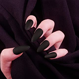 Laza 28 Pcs Colorful Fake Nails Stiletto Almond Full Cover Carbon Dull Medium Matte Artificial Acrylic Nails with Glue Sticker Nail File Wood Stick - Pitch Black