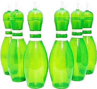 Large Bowling Pin Water Bottles Green - 6 Pack