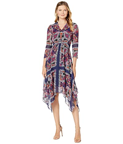 Vince Camuto Printed Chiffon Midi Dress with Handkerchief Hem and Long Sleeves (Navy Multi) Women