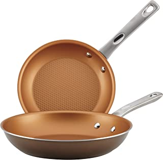 Ayesha Curry 10763 Home Collection Nonstick Frying Pan Set / Fry Pan Set / Skillet Set - 9.25 Inch and 11.5 Inch, Brown