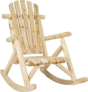 Best Choice Products Indoor Outdoor Wooden Log Rocking Chair Seat Accent Furniture..