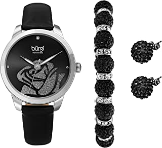 Burgi Watch, Bracelet & Earrings Gift Set - Accented Rose Cut-Out Women's Watch with Diamond Marker and Crystal Beaded Matching Bracelet and Earrings - BUR244