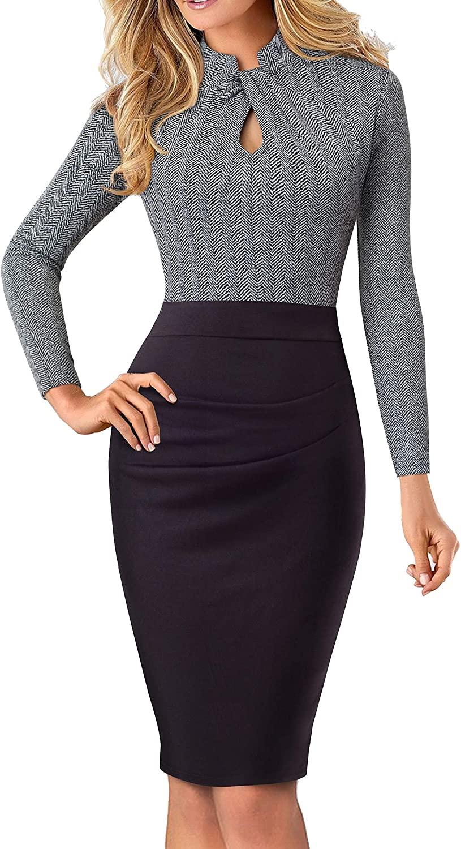 HOMEYEE Women's Short Sleeve Business Church Dress B430