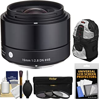 Sigma 19mm f/2.8 EX DN Art Lens with 3 UV/CPL/ND8 Filters + Sling Backpack + Kit for Olympus/Panasonic Micro 4/3 Digital Cameras