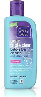 Clean & Clear Acne Triple Clear Bubble Foam Facial Cleanser with Salicylic Acid Acne Medicine, Aloe & Mint for Acne-Prone Skin Care, Oil-Free & Non-Comedogenic, 5.7 fl. oz
