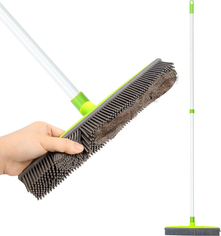 LandHope Push Gorgeous Broom Long Handle Rubber Sweeper Outstanding Squeegee Bristles
