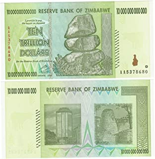 Nice1159 1X 10 Trillion Dollars Zimbabwe, P# 88 AA 2008 Authentic Uncirculated - Rare for Collectors (Only 5 pcs Left) US