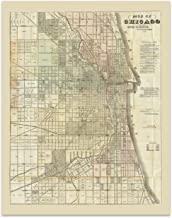 Chicago Vintage Map Circa 1857-11 x 14 Unframed Print - Great Housewarming Gift. Chicago Themed Office Decor. Great Gift for a Real Estate Agent or Developer. Chicago Bar Decor