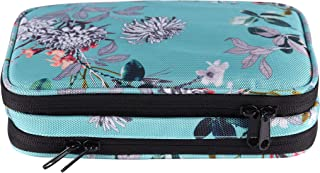 Travel Jewelry Organizer Bag - Portable Jewelry Zippered Storage Case For Necklace, Earrings, Rings, Bracelets, Watches (turquoise flowers)