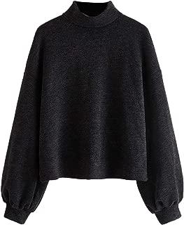SweatyRocks Women's Casual Mock Neck Lantern Long Sleeve Knit Crop Top Sweater