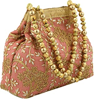 Kuber Industries Polyester Embroidered Potli Batwa Pouch Bag for Women (Peach)-CTKTC043736
