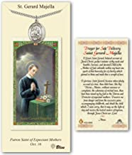 Pewter St. Gerard Majella medal on an 24 inch Heavy Curb Chain with a Prayer For Safe Delivery - St Gerard Majella Prayer Card.