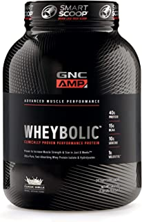 GNC AMP Wheybolic Whey Protein Powder, Classic Vanilla, 25 Servings, Contains 40 Protein, 15g BCAA, and 10g Leucine Per Serving