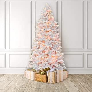 Martha Stewart Flocked White Pine Pre-Lit Artificial Christmas Tree, 6.5 Feet, Multicolored Lights