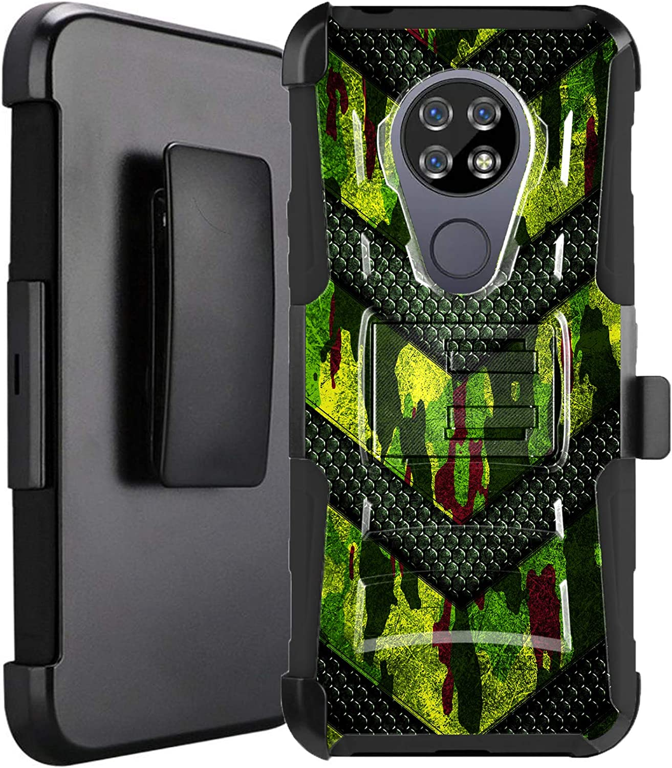 DALUX Hybrid Kickstand Holster Phone Case Compatible with Cricket Ovation/AT&T Radiant Max 4G LTE (2020) - Green Camo Badge