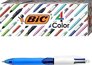 BIC MMBG3EC-A-AST 4-Color Grip Ballpoint Pen, Blue Barrel, Medium Point (1.0mm), Assorted Inks, 3-Count