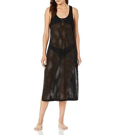 Calvin Klein Solid Maxi Crochet Racerback Cover Up Tank Dress