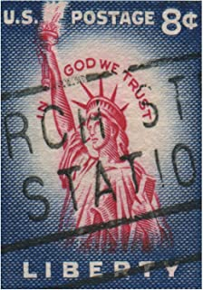The Art Stop Postage Stamp Statue of Liberty USA Vintage Print F12X5793