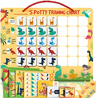Potty Training Chart for Toddlers Magnetic Reuseable – Dinosaur Design Waterproof - Chart, 35 Magnetic Stickers, Certifica...