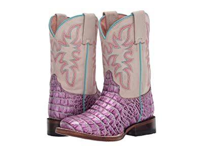 Roper Kids Ali (Toddler/Little Kid) (Purple Faux Caiman Vamp/Cream Shaft) Girls Shoes