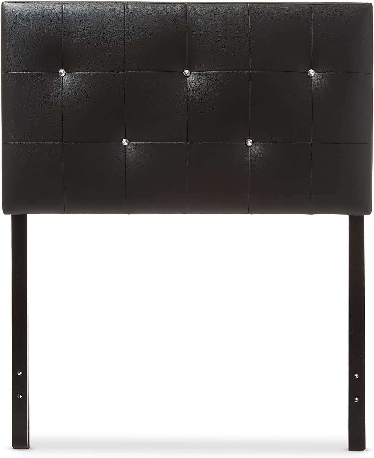 Baxton Studio Josette Modern and Contemporary Black Faux Leather Upholstered Headboard, Twin