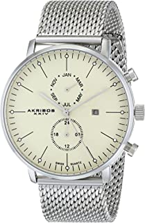 Akribos XXIV Men's AK685 Swiss Quartz Movement Watch with Round Dial - Date, Month and 24-Hour SubdialsStainless Steel Bracelet