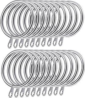 Anneaux de suspension en métal Shappy pour rideaux et tringles diamètre intérieur 30 mm, Argenté., 20 Pack