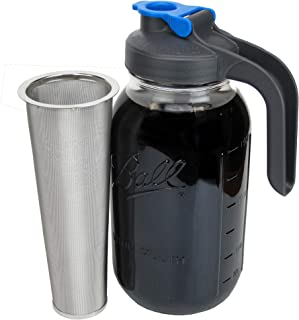 Cold Brew Mason Jar Coffee Maker with Handle by County Line Kitchen - 2 Quart - Make Amazing Cold Brew Coffee and Tea with This Durable Mason Jar and Stainless Steel Filter and Flip Cap Handle Lid