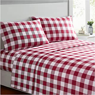 Mellanni Bed Sheet Set - Brushed Microfiber 1800 Bedding - Wrinkle, Fade, Stain Resistant - 4 Piece (Queen, Checkered Burgundy)