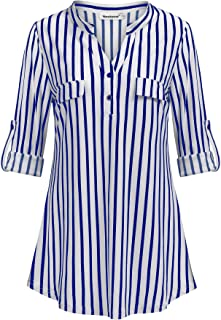 6ca92a18110f0 Nandashe Womens 3 4 Roll Sleeve Shirt V Neck Button Down Blouse Loose Tunic  Tops