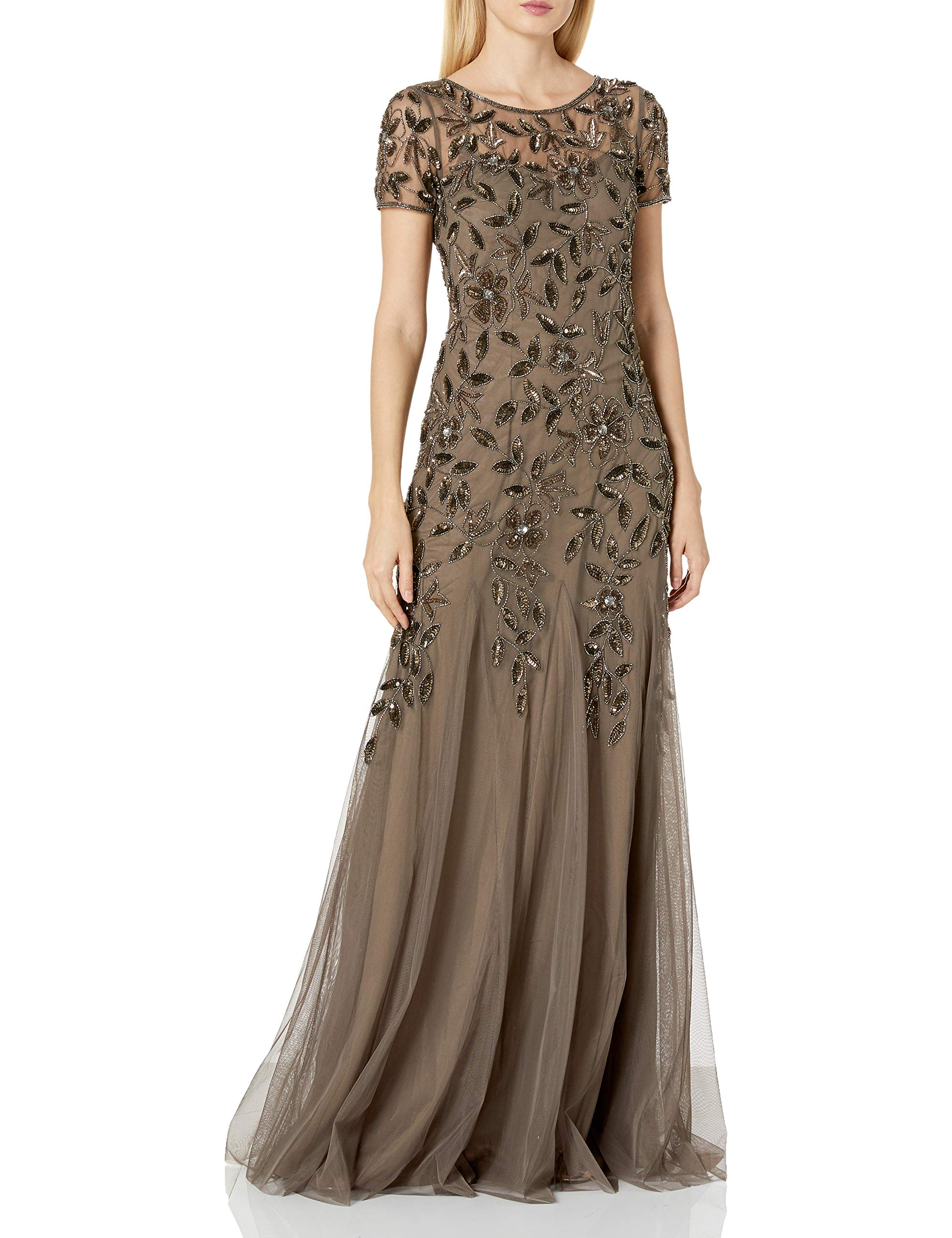 Mother Of The Bride Dresses - Women's Floral Beaded Godet Gown