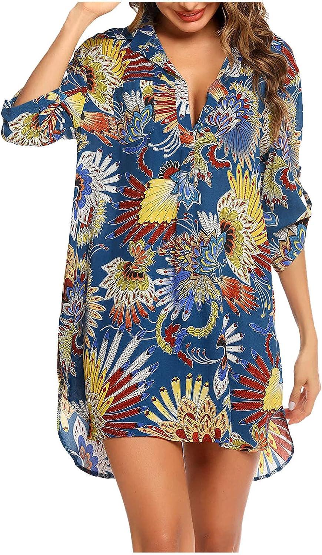 Hemlock Women Beach Cover Up Floral Print Button Down Shirts 3/4 Sleeve Bikini Beachwear Bathing Suit Beach Dress