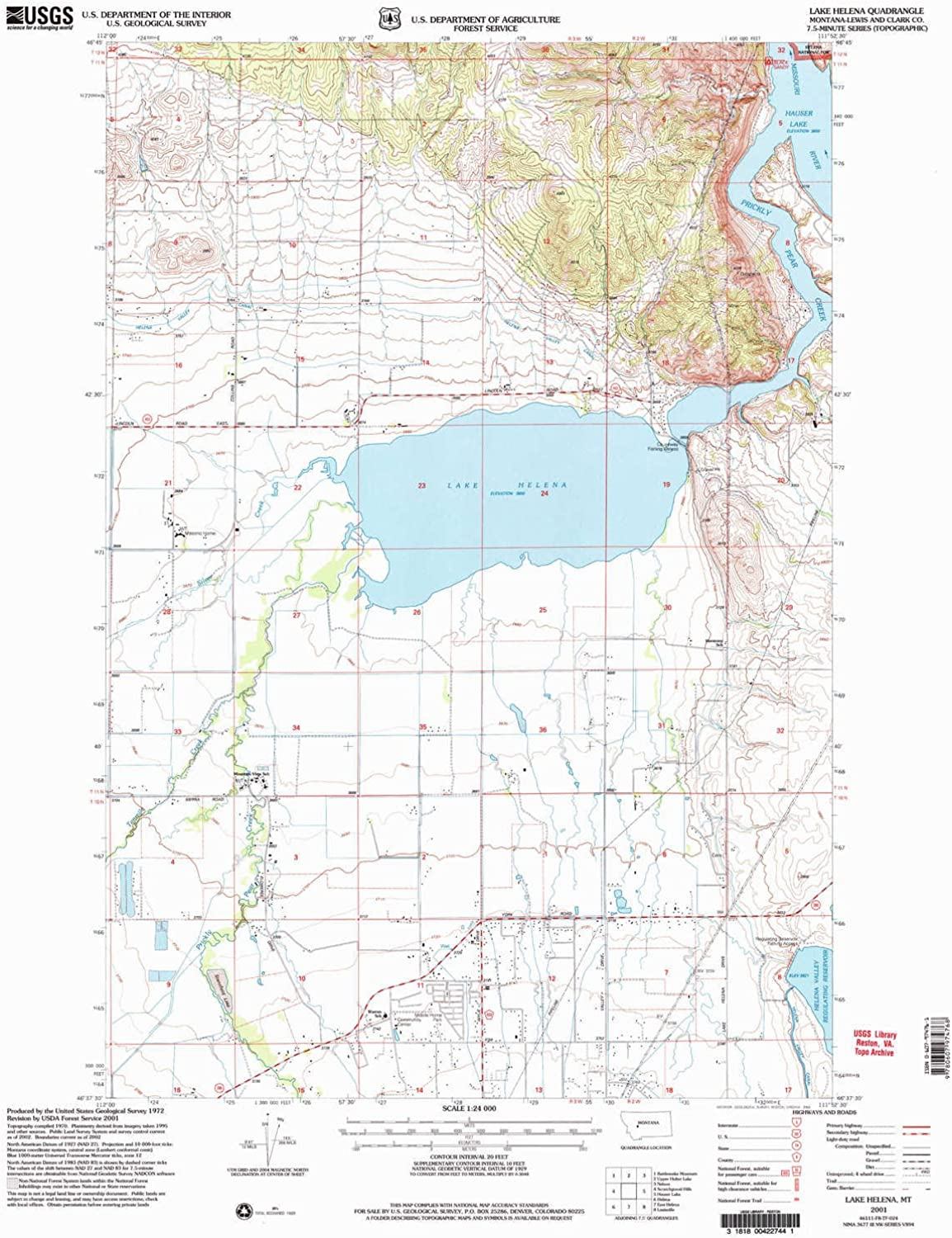 Lake Helena MT topo map, 1 24000 Scale, 7.5 X 7.5 Minute, Historical, 2001, Updated 2004, 27 x 22.1 in