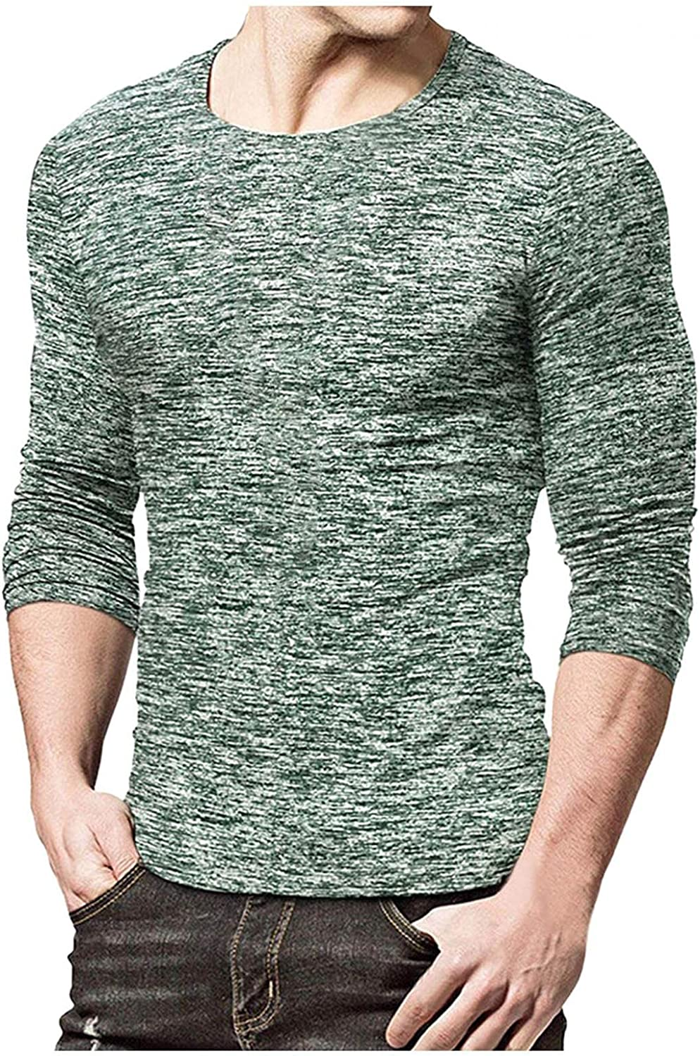Mens Crewneck Sweatershirts Solid Long Sleeve Pullover Tops Gym Workout Dry-Fit Moisture Wicking Tee Performance Shirt
