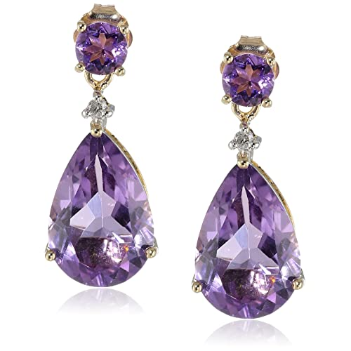 359c7eefd 10k Yellow Gold Gemstone and Diamond Accent Drop Earrings