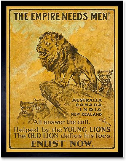 War Propaganda Advert British Empire Enlist Recruit 12X16 Inch Framed Art Print
