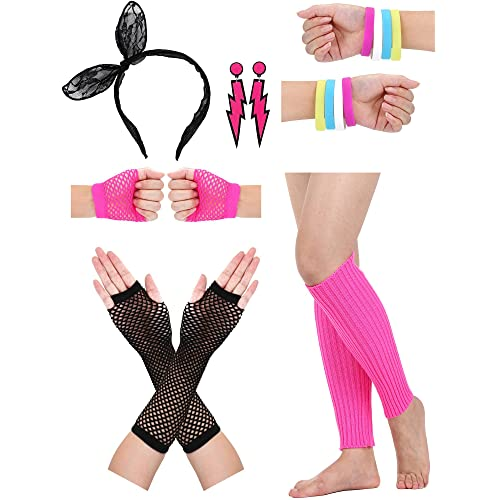 52c4828fbcb15 Satinior Women's 80s Accessories, Lace Headband, Neon Earrings, Fishnet  Gloves, and Leg