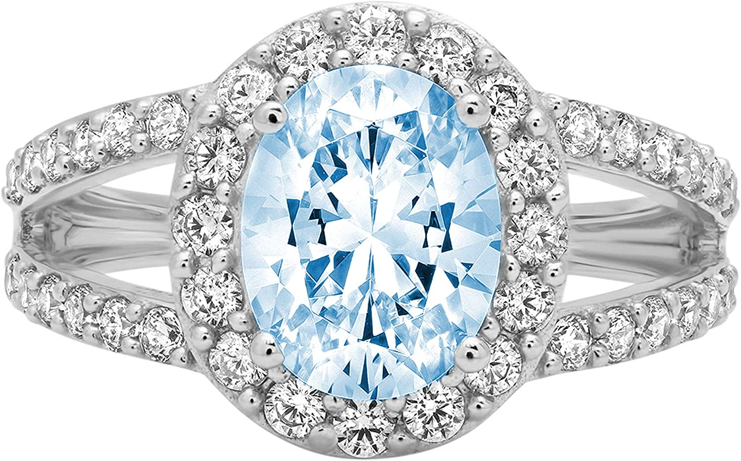 2.24 ct Oval Cut Solitaire Accent Halo split shank Genuine Flawless Natural Sky Blue Topaz Gemstone Engagement Promise Statement Anniversary Bridal Wedding Ring Solid 18K White Gold