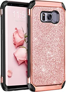 Galaxy S8 Case, Samsung Galaxy S8 Case, BENTOBEN Shockproof Glitter Sparkly Bling 2 in 1 Hybrid Hard PC Shiny Faux Leather Chrome Protective Case for Samsung Galaxy S8 2017 (5.8 Inch), Rose Gold