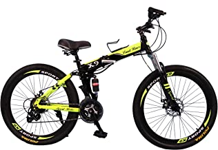 vlra X7 Land Rover Folding bike 26 inch 24speed mountain bike Suspended disc brake bicycle (black green)