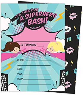 Superhero Girl 3 Happy Birthday Invitations Invite Cards (25 Count) With Envelopes and Seal Stickers Vinyl Girls Kids Party (25ct)