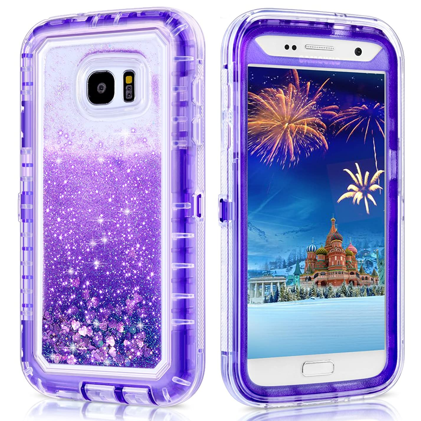WOLLONY Galaxy S7 Case, 360 Full Body Shockproof Liquid Glitter Quicksand Bling Case Heavy Duty Phone Bumper Soft Non-Slip Clear Rubber Protective Cover for Samsung Galaxy S7 (Purple) uk15549065